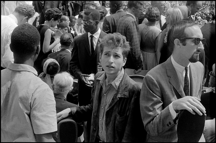 Bob Dylan and Peter Yarrow (right) during the March on Washington, August 28th 1963