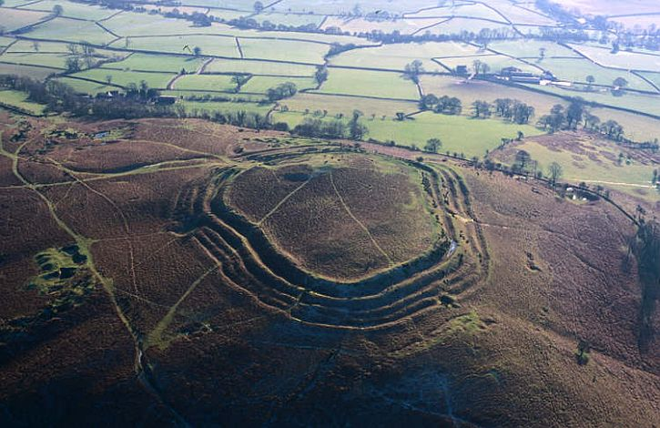 Aerial photograph of Pen y Crug Iron Age hillfort, Brecon
