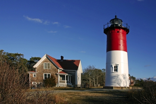 The lighthouse at Nauset Light Beach