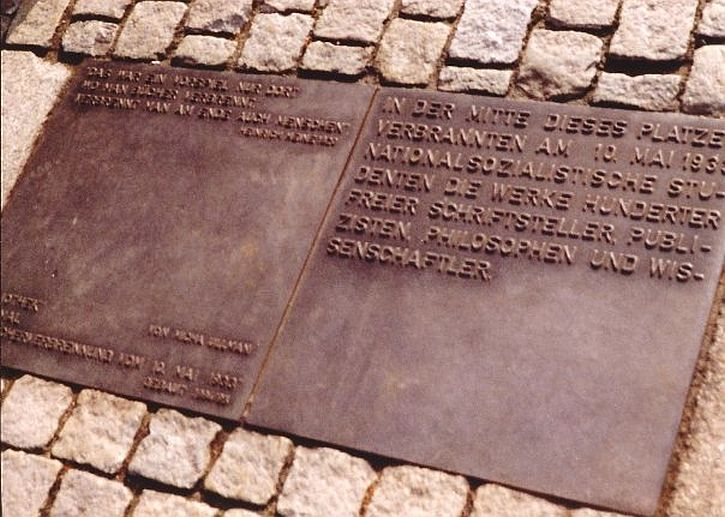Book burning plaque on Bebelplatz with Heine quotation