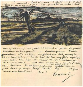 Van Gogh Pollard Willow 1882, letter sketch