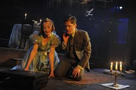 Emma Lowndes as Laura with her 'gentleman caller' (Kyle Soller)