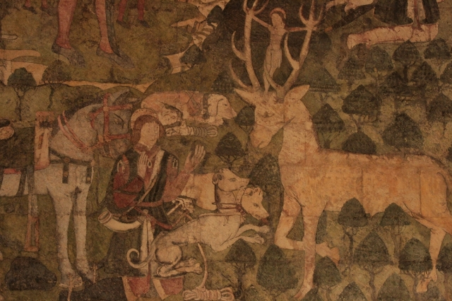 Medieval mural (c.1480) of the Legend of St. Eustace.