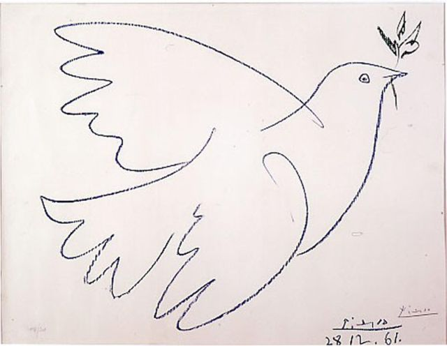 Picasso Dove with olive branch