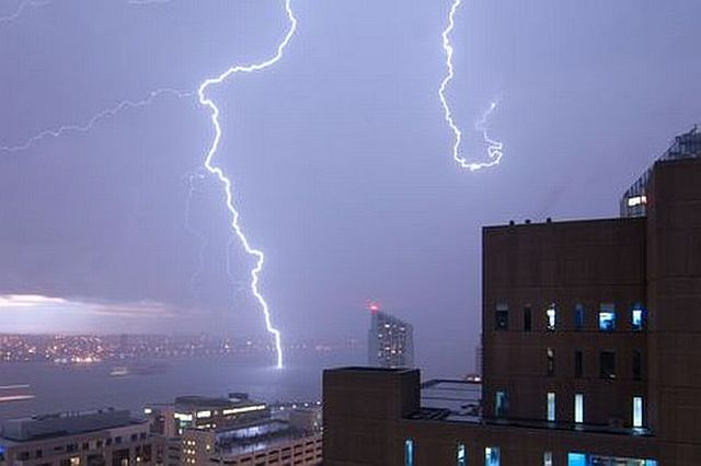 A lightning bolt hits the River Mersey