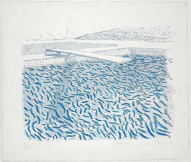Hockney Water Made of Lines and Crayon