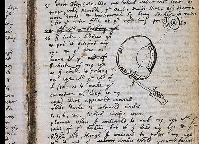 A page from Isaac Newton's notebook, with a sketch of an experiment where he stuck a needle into his eye socket.