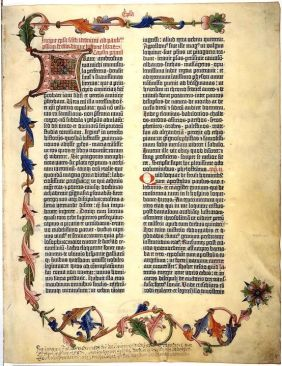 Illuminated page in the paper version of the Gutenberg Bible 1454