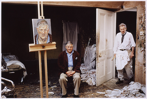 Freud painting Hockney by David Dawson