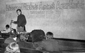 Peter Hain addresses a meeting in Liverpool Students union, November 1969
