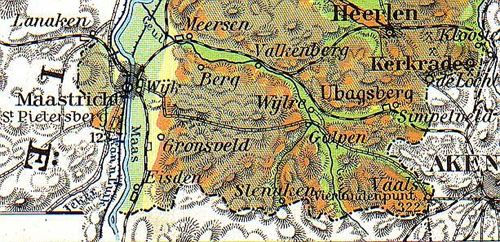 The four-country-point identified near Vaals in an old school atlas
