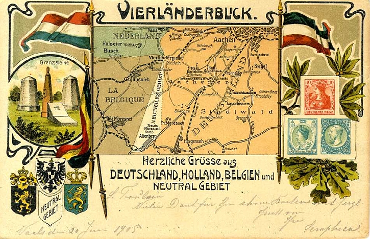 German postcard, 1905, shows the Dutch, Belgian, German and Neutral areas, and the 'Vierländerpunkt'.