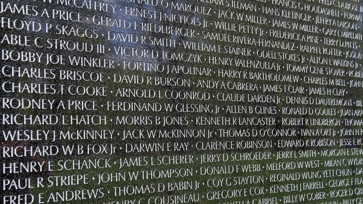 The Vietnam War Memorial in Washington