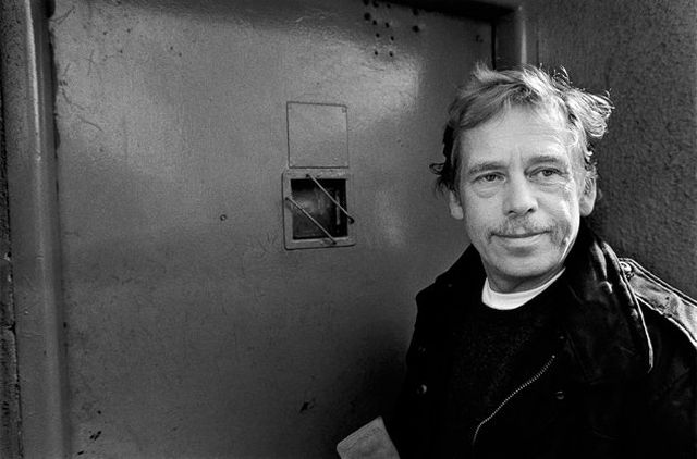 Václav Havel visiting Ruzyne Prison, where he had once been incarcerated, Prague, March 1990