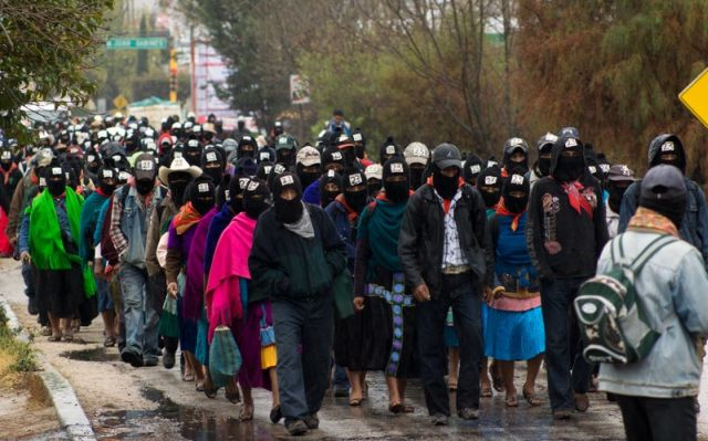 Zapatistas march in December 2012