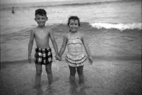Bruce and sister Ginny, circa 1955