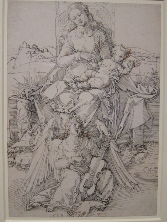 Durer, The Virgin and Child with an angel playing the viol, 1519