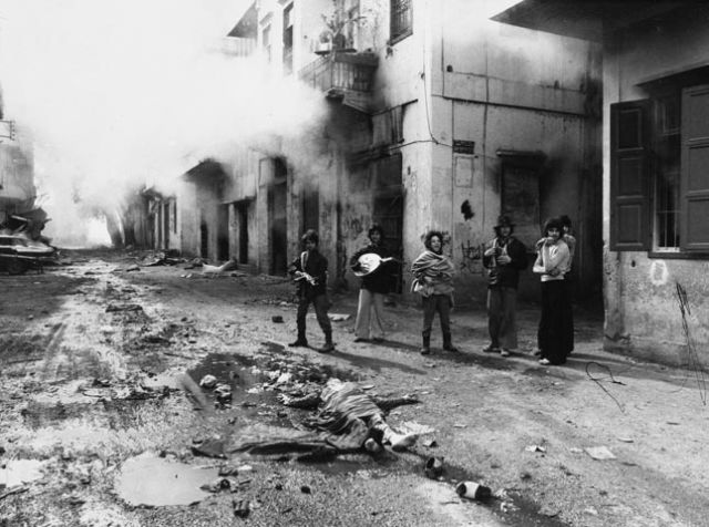 Phalangists with the body of a Palestinian girl, Beirut 1976