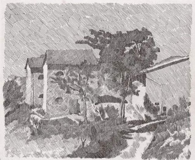 Morandi, Three Houses in Campiaro, 1929