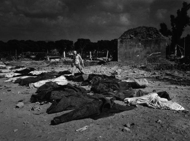 Palestinian victims of the Sabra and Shatilla massacre, Beirut, 1982