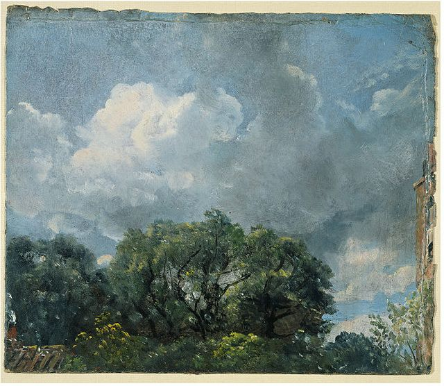 Study of Sky and Trees with a Red House at Hampstead