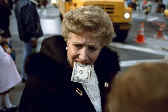 Jeff Mermelstein, Untitled (10 bill in mouth) New York City,1992
