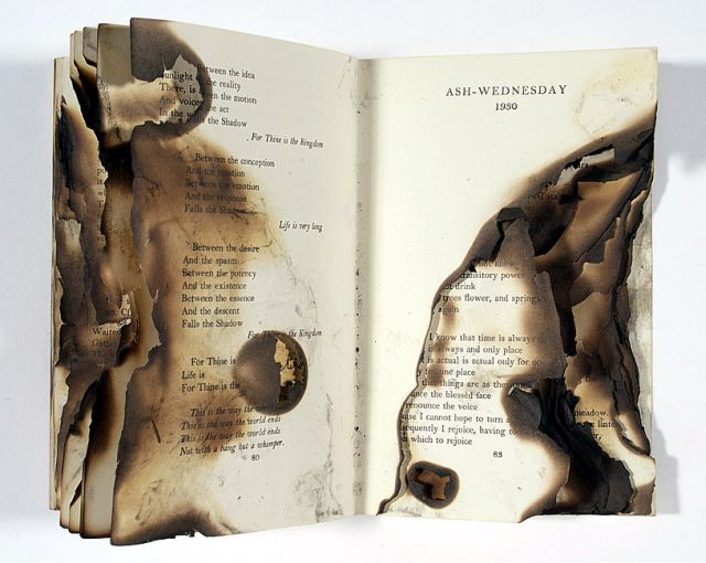 Burned Book Sculpture, TS Eliot Ash Wednesday, Sarah Rhys, UK