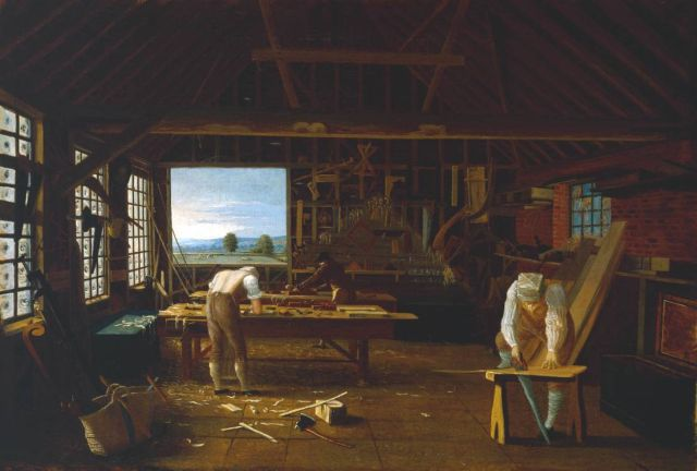 Interior of the Carpenter's Shop at Forty Hill, Enfield ?exhibited 1813 by John Hill circa 1780-1841