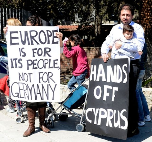 cyprus cypriot nicosia dangerous parliament banners hold bailout today crazy infront