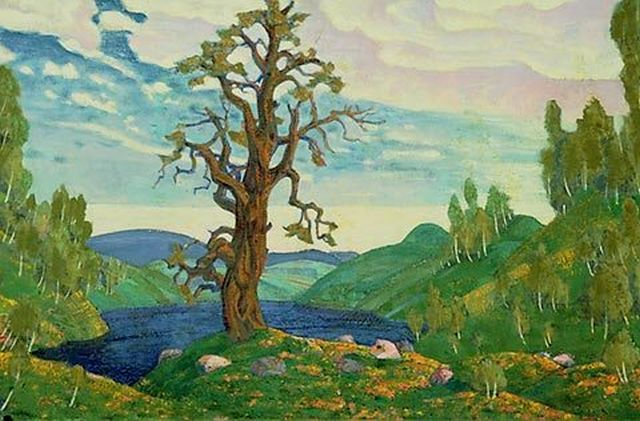 Design of stage backdrop for 'Le Sacre du Printemps' by Nikolai Roerich
