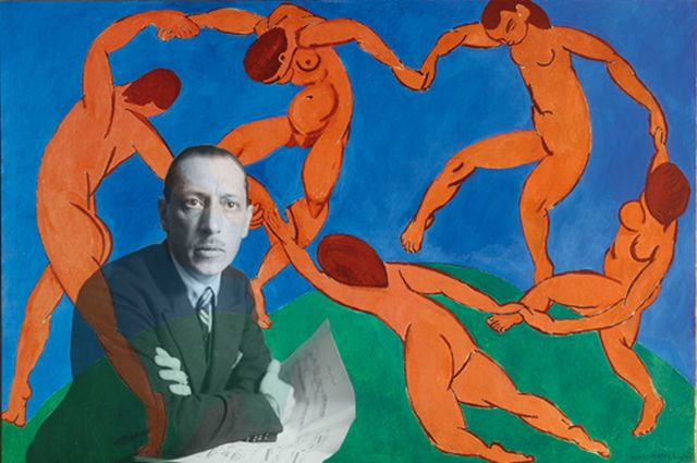 Igor Stravinsky with 'Dancers' by Matisse [collage NPR Today]