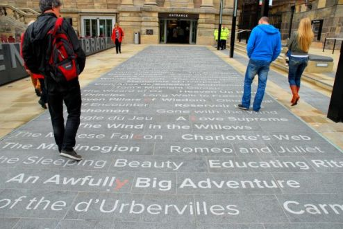 The literary pavement leading to the new library entrance