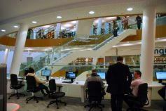 Computer stations on the first floor Enquire area
