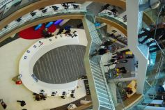 Looking down the atrium to the Levi Tafari poem