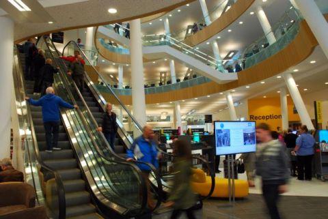 Escalators to the upper floors