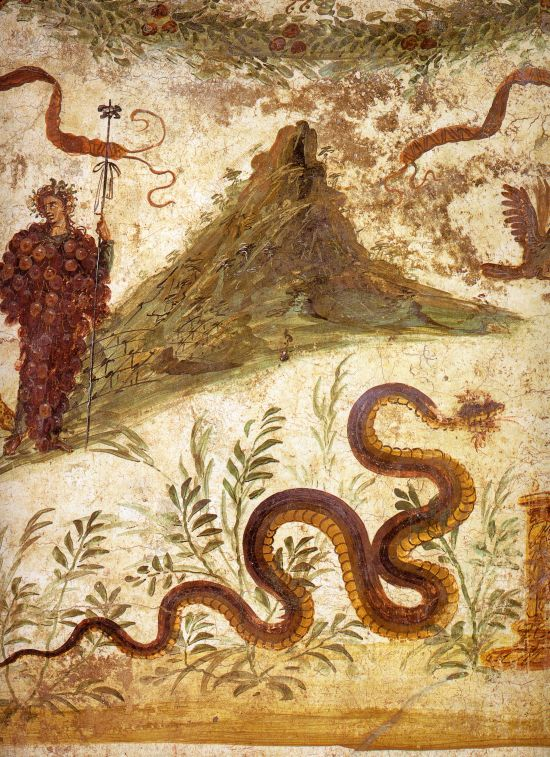 Pompeii exhibition fresco of Bacchus with Vesuvius