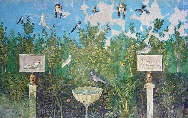 Pompeii exhibition garden fresco found in the House of the Golden Bracelet
