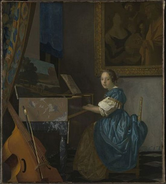 A Young Woman seated at a Virginal (about 1670-72) by Johannes Vermeer