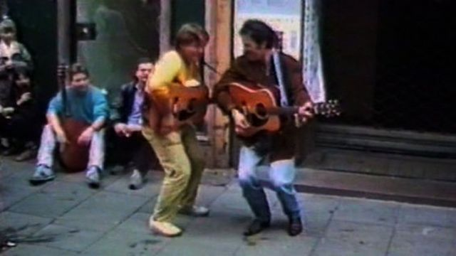 Bruce with street busker