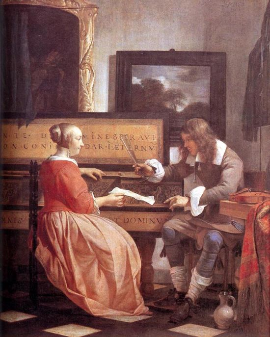 Gabriel Mets, Man and Woman seated by a virginal, 1665