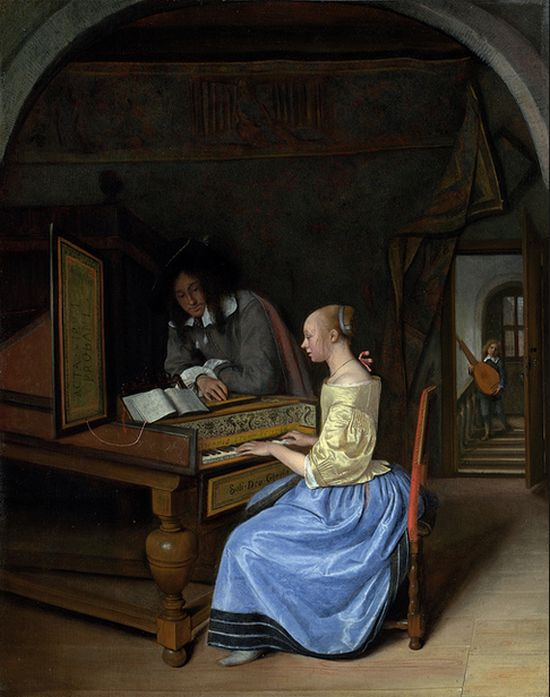 Jan Steen, Young Woman playing harpsichord to a young man, c1659