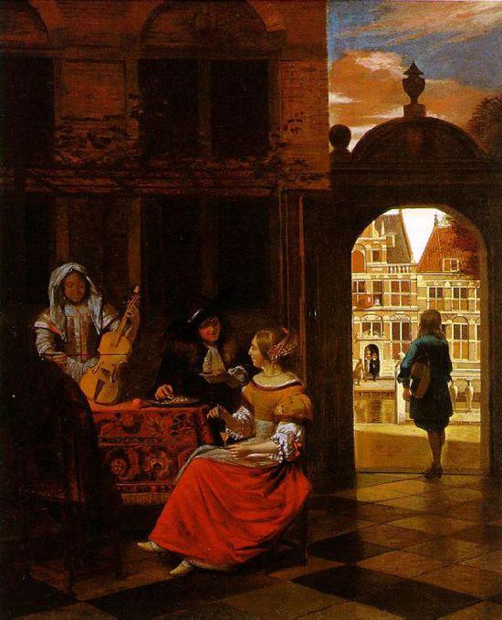 Pieter de Hooch,  A Musical Party in a Courtyard, 1677