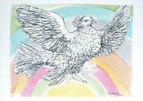 Colombe pour la paix volant a l'arc en ciel, 1952
