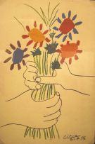 Picasso Flowers, autographed postcard,1959