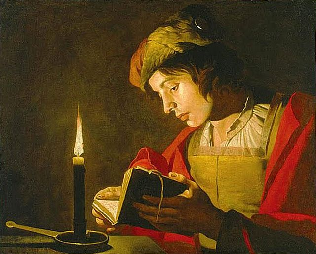 Young Man Reading by Candlelight by Matthias Stom