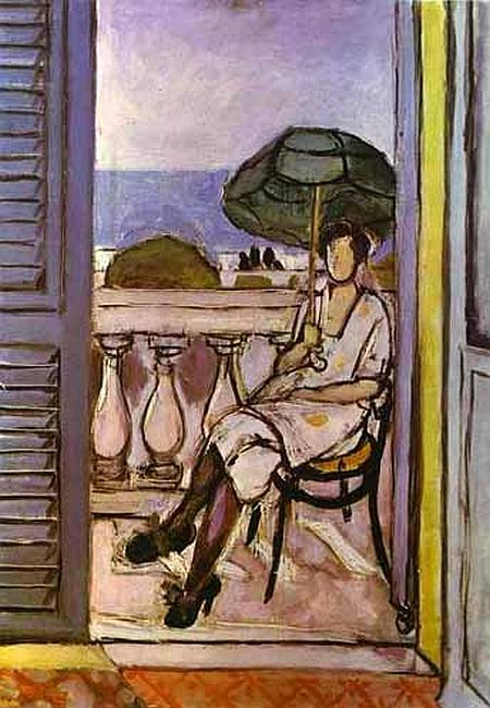 Woman with a Green Parasol on a Balcony, 1920