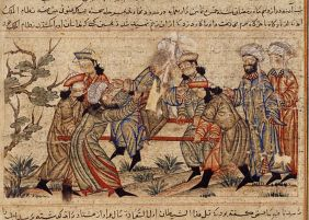 An agent (fida'i) of the Ismailis («Order of Assassins») (left, in white turban) fatally stabs Nizam al-Mulk, a Seljuk vizier, in 1092, Topkapi Palace Museum