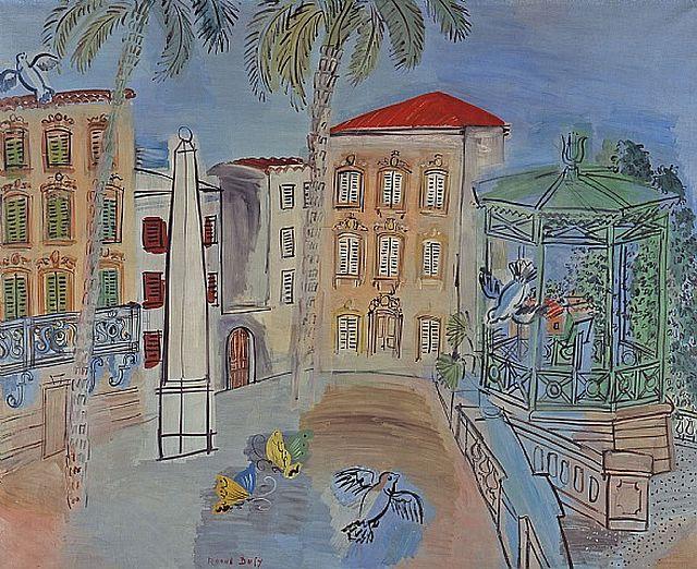 Dufy, La Place d'Hyères, l'Obélisque et le Kiosque à Musique, 1927