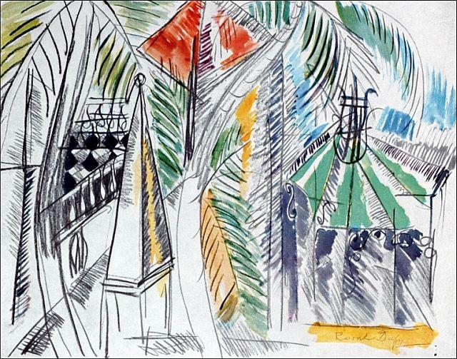 Raol Dufy, le jardin public d'hyeres, 1952