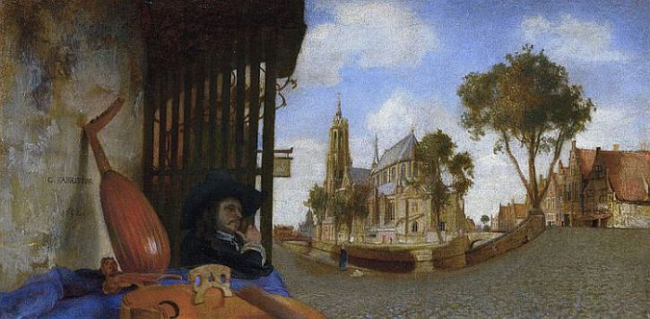Carel Fabritius, View of Delft with Musical Instrument Seller's Stall, 1652